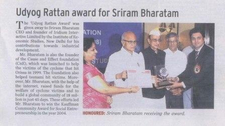 Newspaper article on Sriram Bharatam receiving tthe Udyog Rattan Award